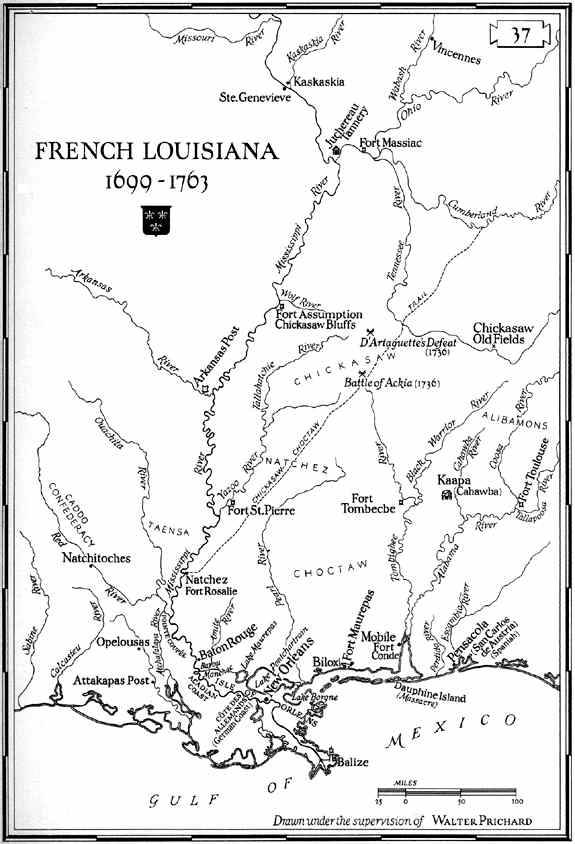 Map of French Colonial Louisiana